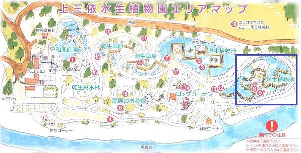 水生植物池 上三依水生植物園エリアマップ
