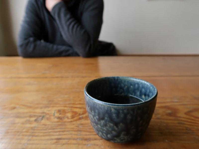 夫のブーさんと二人。ほうじ茶