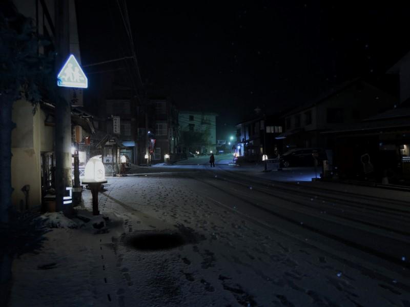ストロボ調光量:小 湯西川温泉街に降る雪
