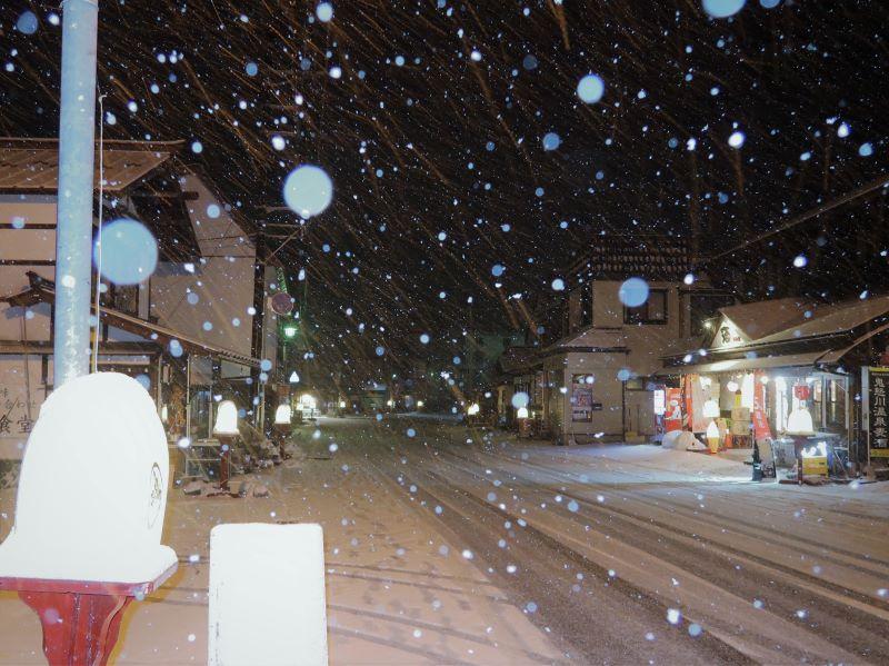 ストロボ調光量:大 湯西川温泉街に降る雪