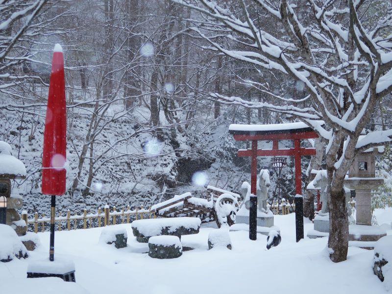 ストロボ調光量:大 湯西川温泉「揚羽」に降る雪
