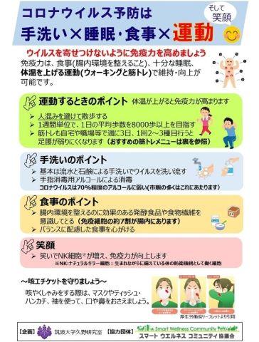コロナウイルス予防は手洗い睡眠・食事運動-SWC協議会