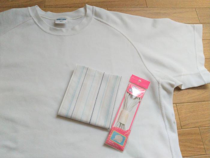 ハンカチとTシャツで夏バージョンのマスク