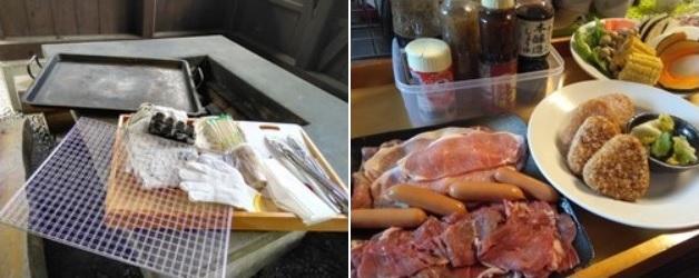 BBQ基本セットとBBQ食材セット みよりふるさと体験村男鹿の湯