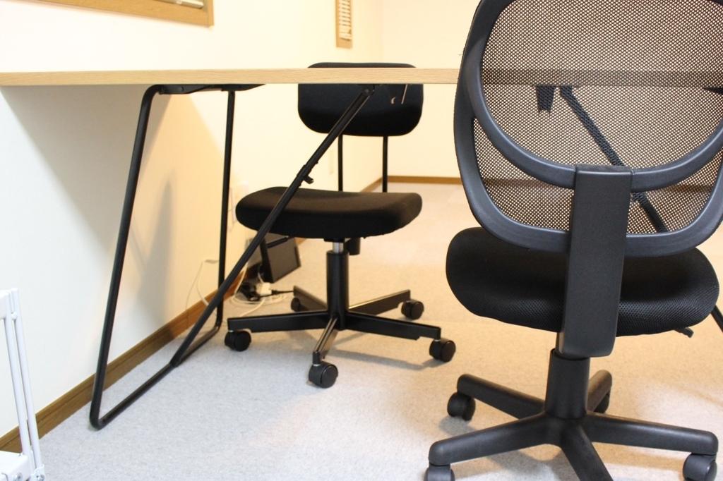無印良品折りたたみテーブル160cmと椅子2脚向かい合わせ