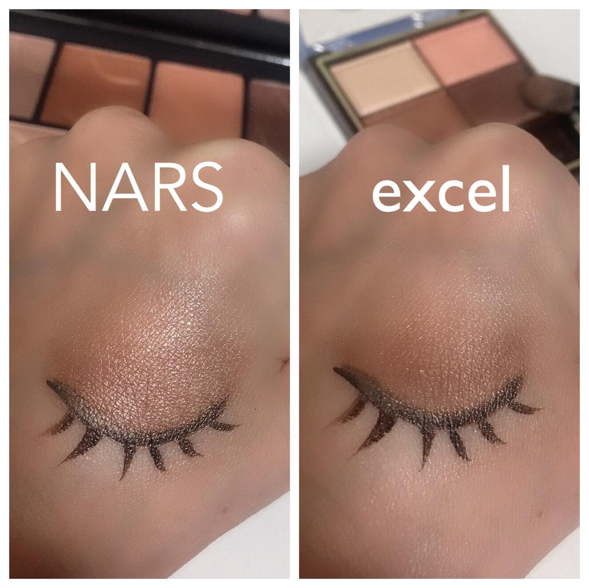 NARSとエクセルのブラウンアイシャドウ比較