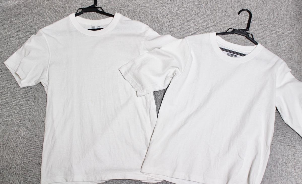 INEAUNIVERSAL OVERALL 別注TシャツとユニクロユーメンズTは似てる