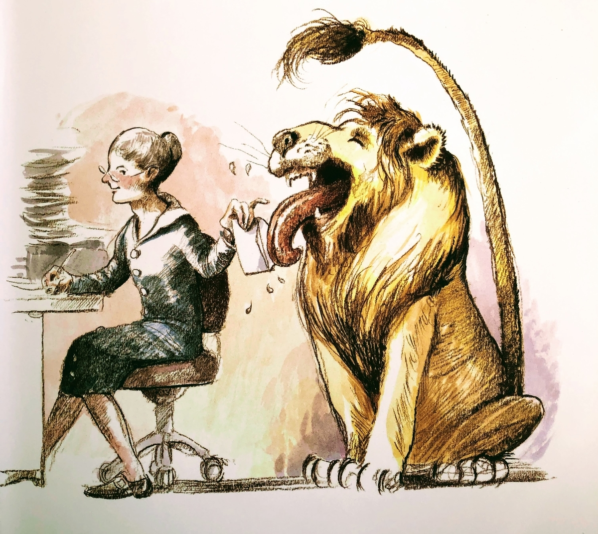 図書館の館長のメリウェザーさんのお手伝いをするライオン