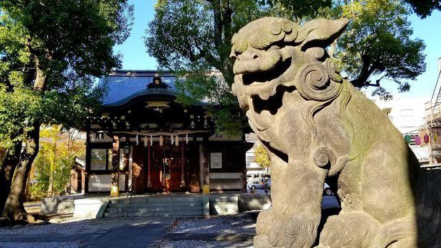橘樹神社の社殿と狛犬