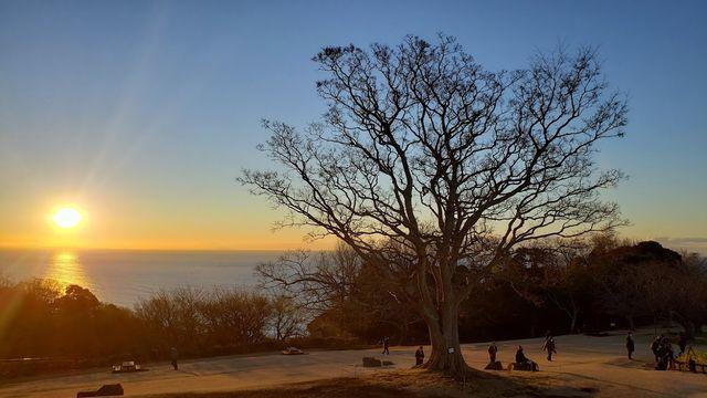吾妻山公園から日の出を見る