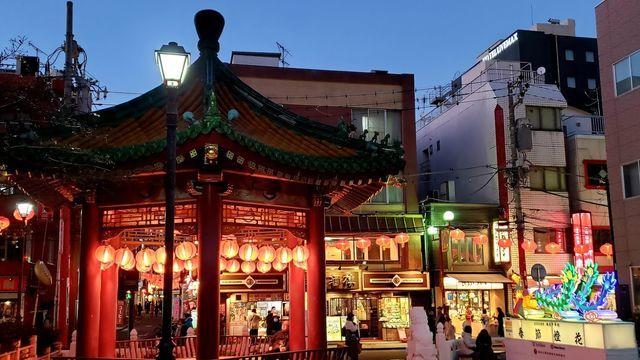 横浜中華街の夜景/会芳亭