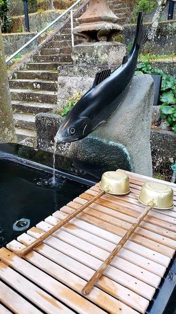 大仁神社の鮎の手水舎