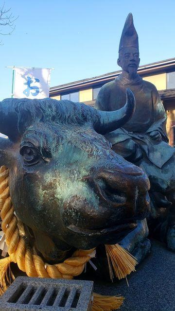 久里浜天神社の牛にまたがる菅原道真公