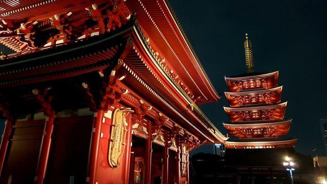 浅草寺の宝蔵門と5重の塔