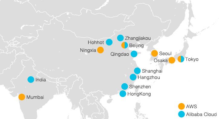 Alibaba Cloudは中国や東南アジアのリージョン数が多い