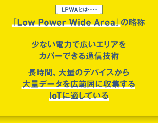 LPWA(Low Power Wide Area)とは少ない電力で広いエリアをカバーできる通信技術