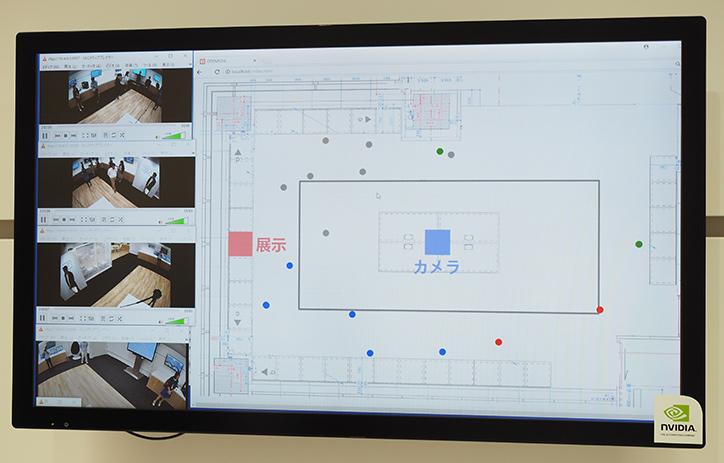 お台場ラボ内の人の動きをリアルタイムで表示する。点の各色は、どのカメラで認識しているかの違い