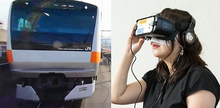 左:直前に迫る車両 右:VRゴーグルを装着し体験する