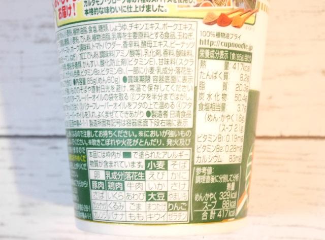 カップヌードル バターチキンカレー カロリー・アレルゲン