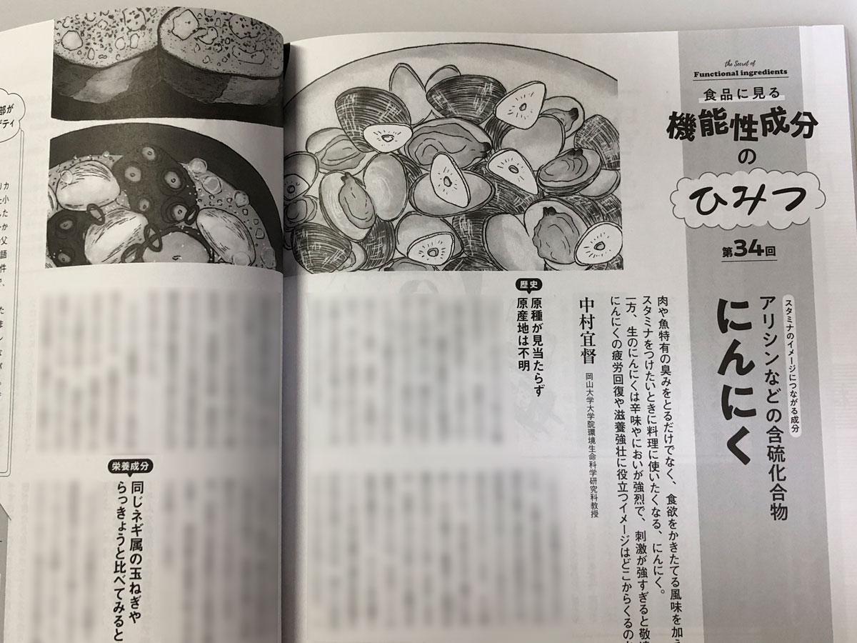 「栄養と料理」(女子栄養大学出版部)2021年4月号 連載「機能性成分のひみつ」第34回 にんにく