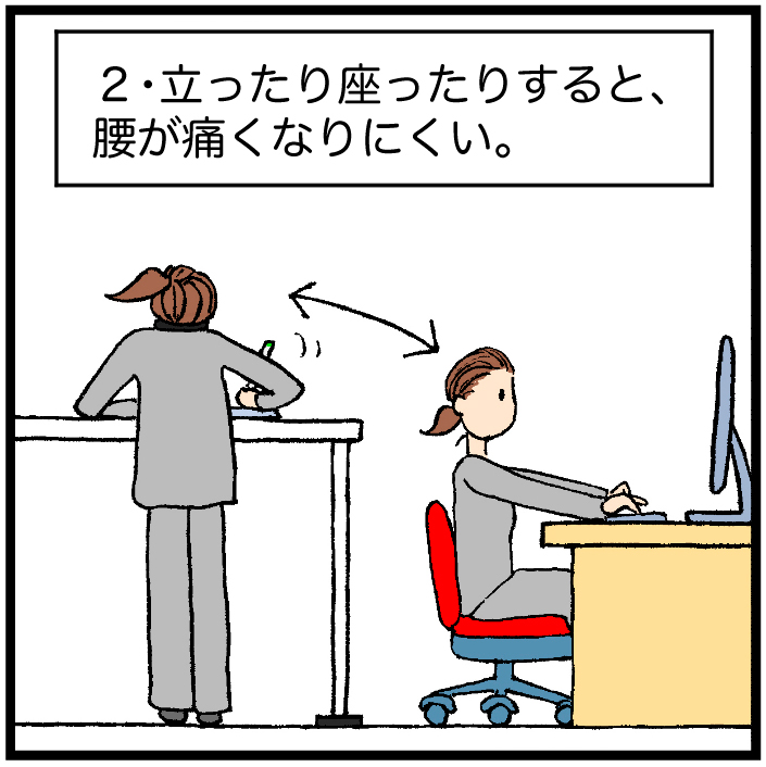 2・立ったり座ったりすると、腰が痛くなりにくい。