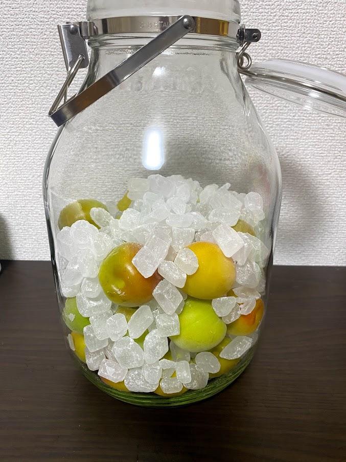 梅と氷砂糖を交互に瓶に入れる。