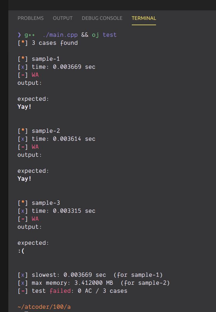 code-runnerで実行した結果