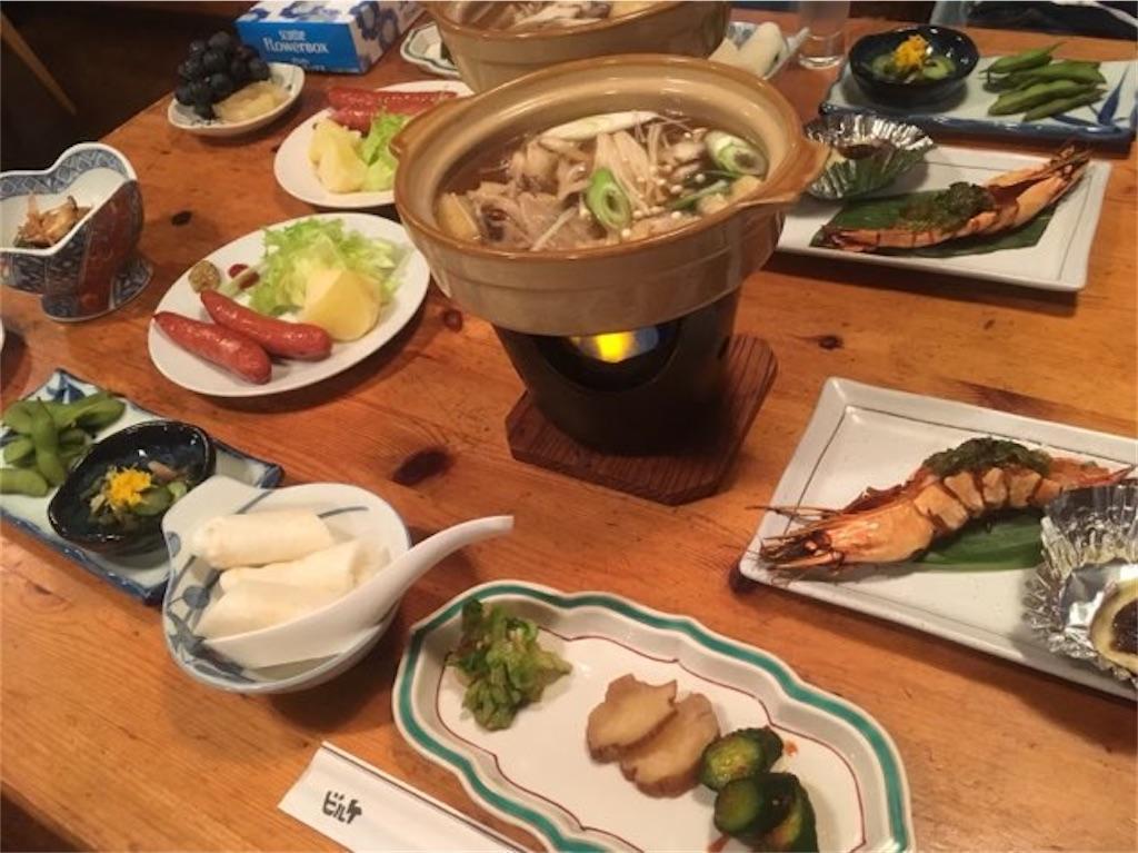 ヒュッテビルケの夕食(きりたんぽ鍋 等)