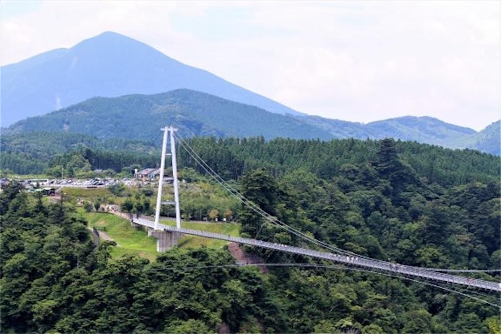 九重夢大吊橋を遠くから撮影(天候:晴れ)