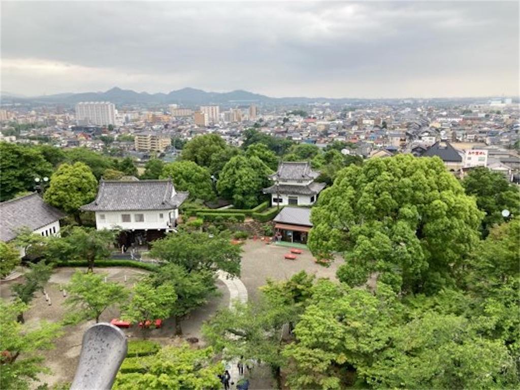 犬山城最上階からの景色(城下町方向)