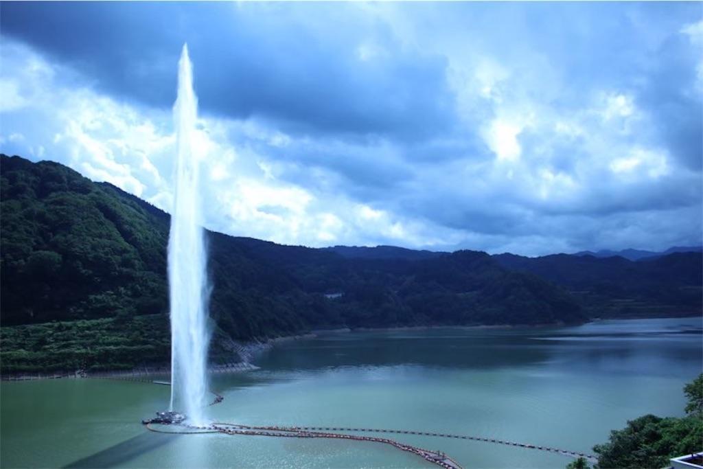 月山湖の噴水(最高到達点)