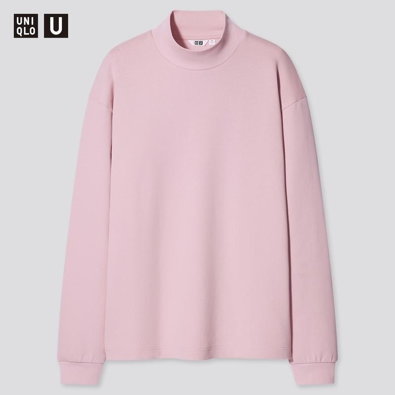 モックネックプルオーバー:ピンク