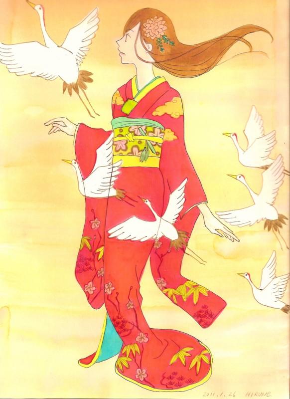 松竹梅に鶴