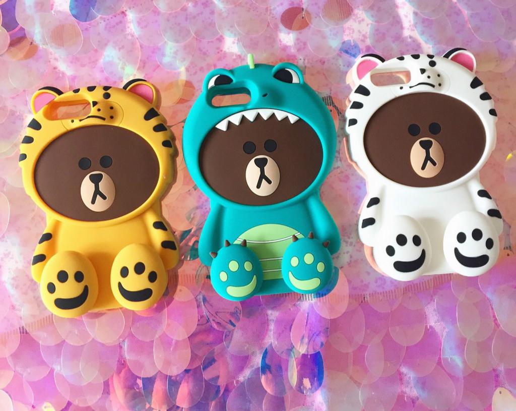 iphone8 ブランド ケースline 熊ブラウンシリコンiPhoneX/iPhone8Plus/7/6sケースくま