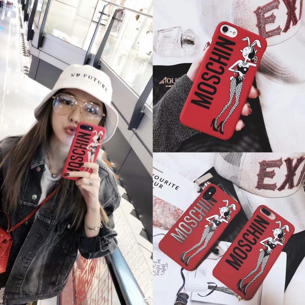 コラボ インスタ有名人iPhoneXバニーガールOlive OylアイフォンXケースiphone6/6sオリーブおしゃれブランド モスキーノ ハードケース