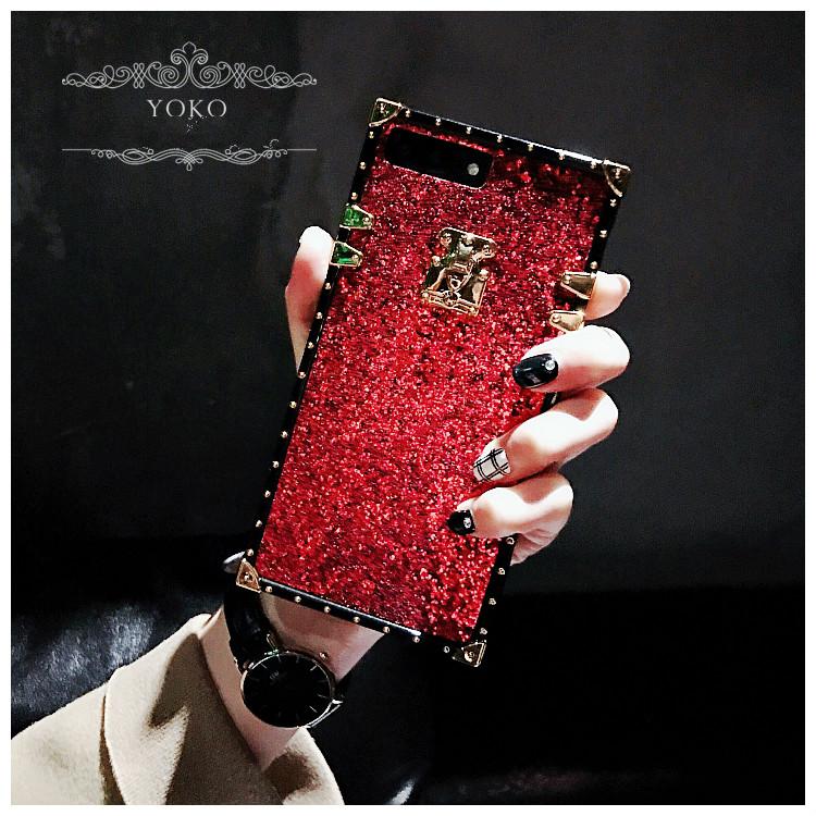 豪華赤色ラメ入りiPhoneXIカバーXC/11/9/8スマホケース キラキラX