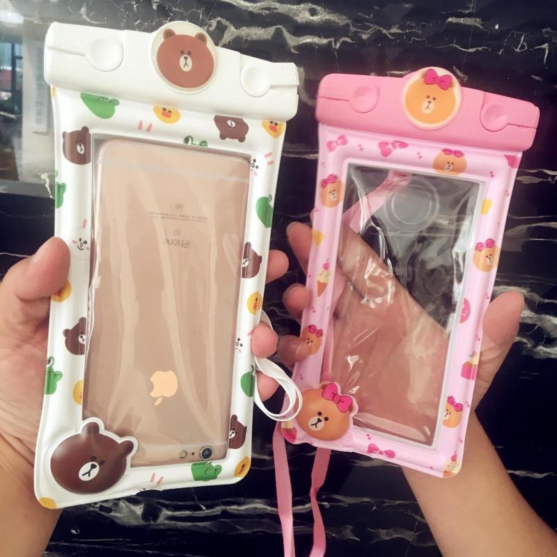 lineブラウンiPhone8防水ケースブランドiPhone XRスマホケースXS/XS Maxポシェット