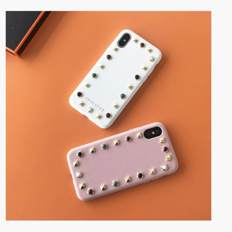 リベット飾りiPhone XS/XS Max/XRスマホケース シンプル おしゃれおすすめ