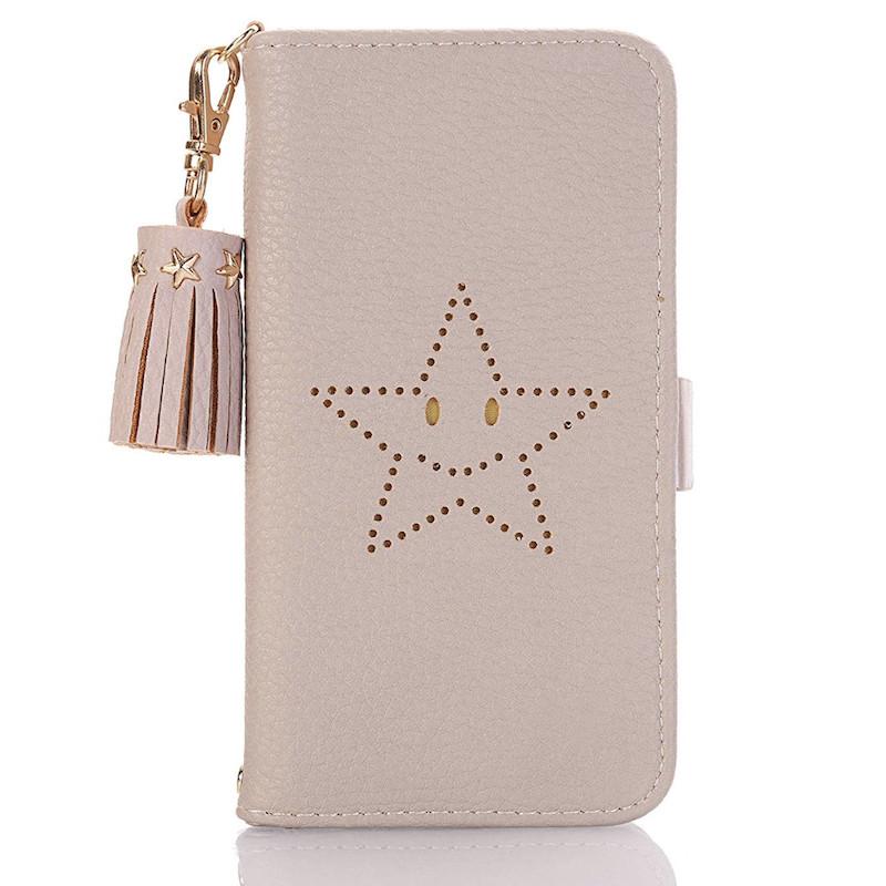 星柄iPhoneXS/8プラスケース手帳 ゴールドカード入れ
