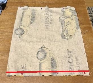 ハリネズミの寝袋外側生地の縫う場所