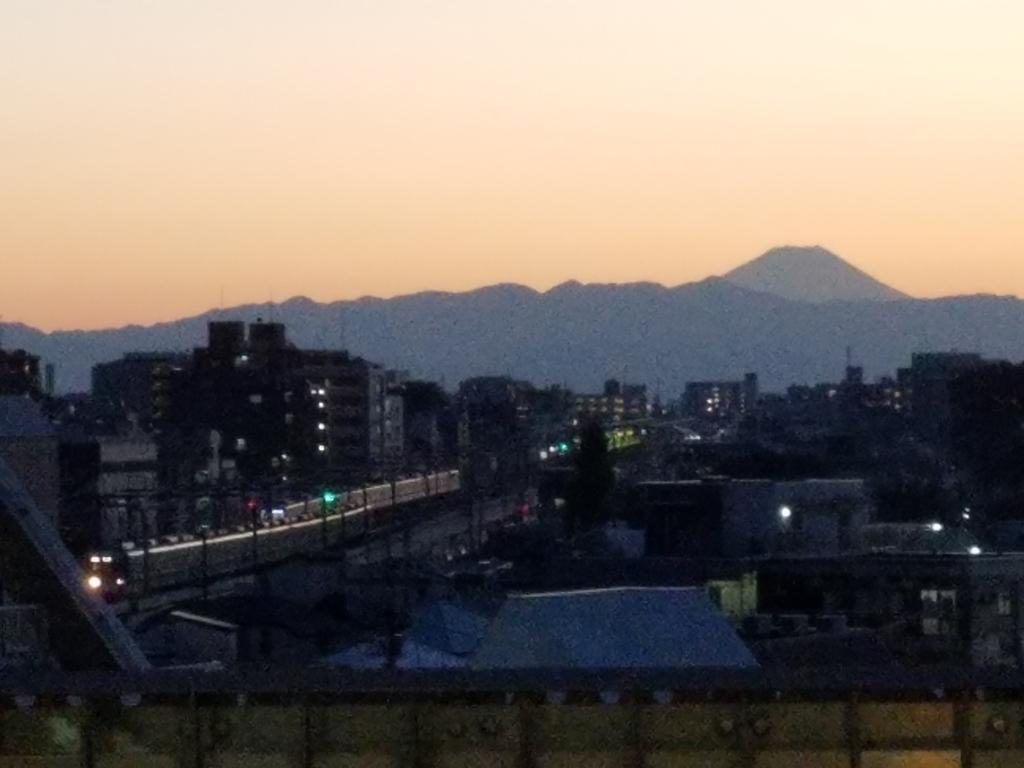 夕日に映る小田急線と富士山