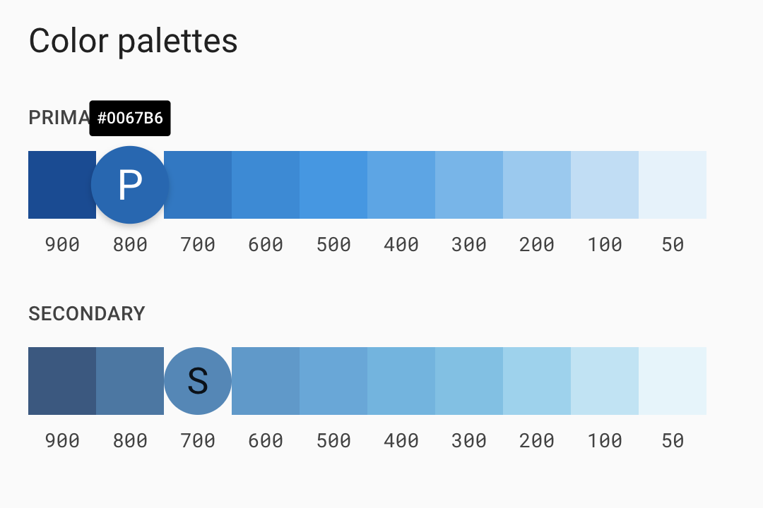 Color palettesで青色の数値を検証しているスクリーンショット