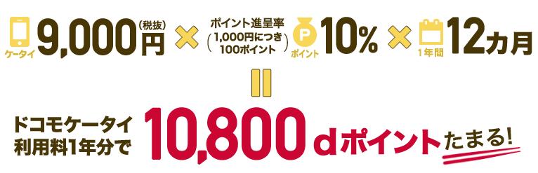 月額携帯料金が9,000円なら年会費分のポイントが貯まる