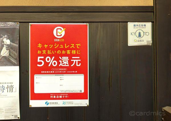 キャッシュレス還元の対象店舗であることを示す赤いポスター