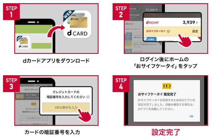 dカードアプリから即、iDが利用可能になる