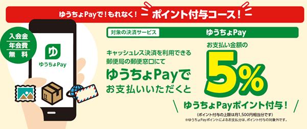ゆうちょPayで払うだけで5%還元