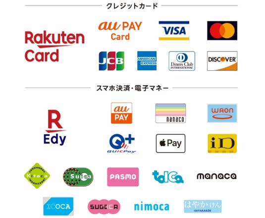 楽天ペイ対応のクレジットカード&電子マネー
