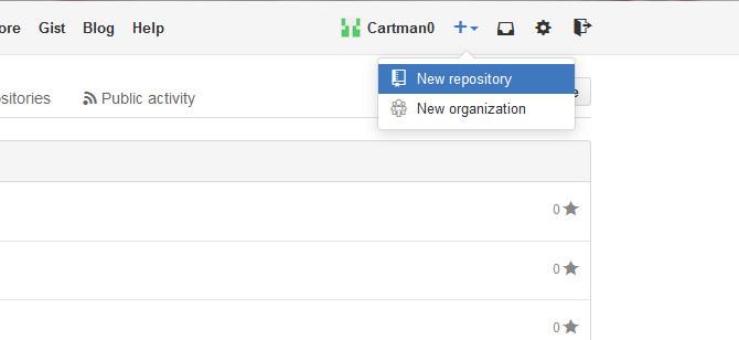 GitHub ユーザページに新しいリポジトリを作成の画像