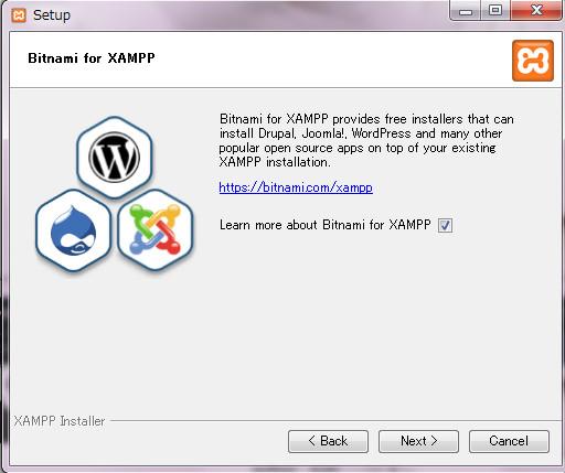 Bitnami for XAMPPのサイトを見るか聞かれる