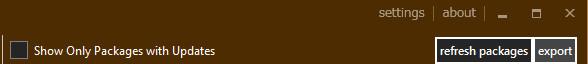 ChocolateyGUIの右上からconfigファイルをexport